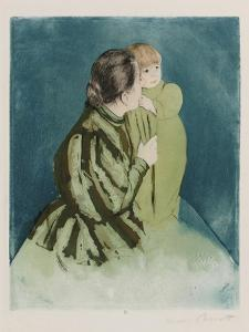 Peasant Mother and Child, Drypoint and Aquatint in Colors, Circa 1894 by Mary Cassatt