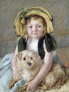 Sara avec son chien. by Mary Cassatt