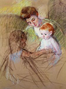 Sketch of Mother and Daughter Looking at the Baby by Mary Cassatt