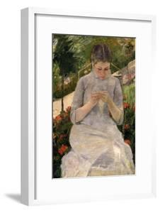 Young Girl in the Garden, Woman Sewing, c.1880 by Mary Cassatt