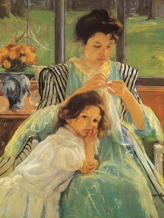 Young Mother Sewing, 1900