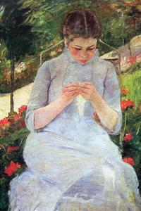Young Woman Sewing in the Garden by Mary Cassatt
