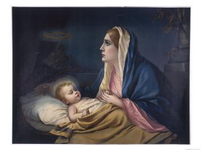 Mary Contemplating Her Son Suddenly Has a Premonition of the Crown of Thorns--Giclee Print