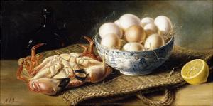 A Crab and a Bowl of Eggs on a Basket, with a Bottle and Half a Lemon by Mary E. Powis