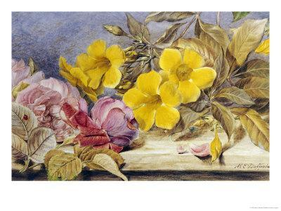 A Still Life of Roses and Other Flowers on a Ledge