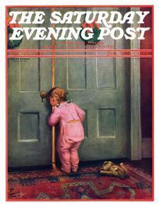 """Christmas Peek,"" Saturday Evening Post Cover, December 22, 1934 by Mary Ellen Sigsbee"