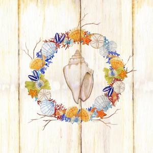 Coastal Wreath and Shell 1 by Mary Escobedo