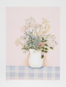 Herbs on Pink Background by Mary Faulconer
