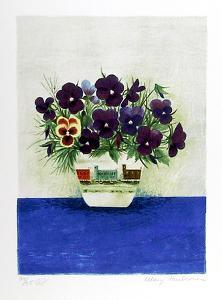 Purple Pansies in Cup by Mary Faulconer