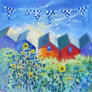 Beach Huts And Sunflowers by Mary Kemp