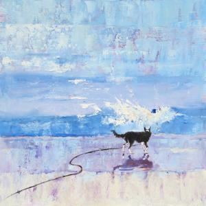 Grace The Border Collie Encounters A Wave No 3 by Mary Kemp