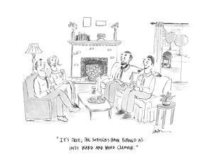 """""""It's true; the suburbs have turned us into Ward and Ward Cleaver."""" - Cartoon by Mary Lawton"""