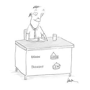 [man's desk has on its front:  Brain  - Cartoon by Mary Lawton