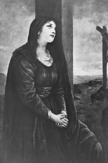 Mary Magdalene Seated Below the Cross, Late 19th or Early 20th Century-Newton & Co-Giclee Print
