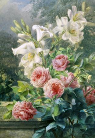 Still Life of Lilies and Roses
