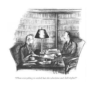 """""""Then everything is settled but the television and doll rights?"""" - New Yorker Cartoon by Mary Petty"""