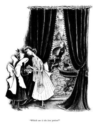 """""""Which one is the love potion?"""" - New Yorker Cartoon"""