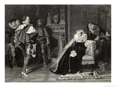 Mary Queen of Scots is Told of Her Imminent Execution-D. Raab-Giclee Print