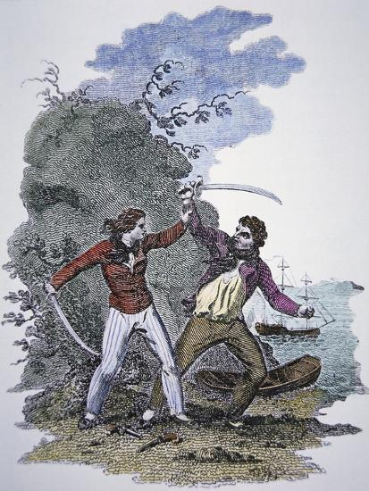 Mary Read Fights Another Pirate to Save Her Male Lover's Life--Giclee Print