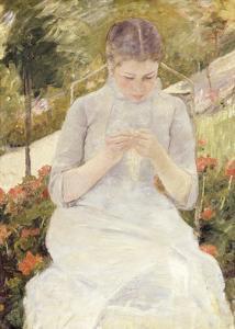 Girl in the Garden, c.1880-1882 by Mary Stevenson Cassatt