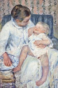 Mother About To Wash Her Sleepy Child,1880 by Mary Stevenson Cassatt