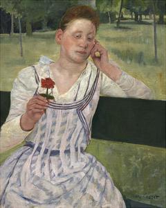 Woman with a Red Zinnia, 1891 by Mary Stevenson Cassatt