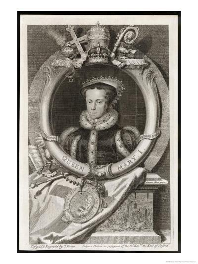 Mary Tudor Catholic Queen of England with the Motto Truth is the Daughter of Time-George Vertue-Giclee Print