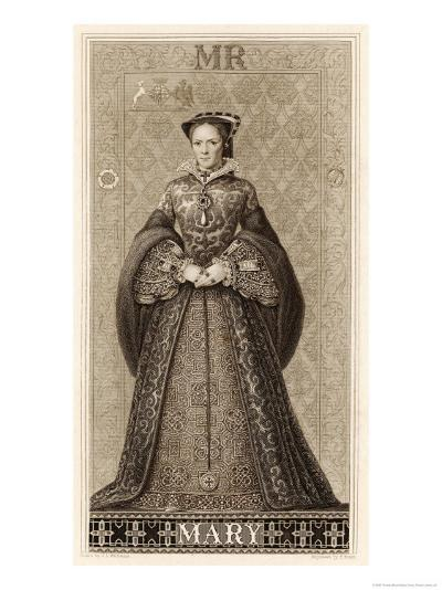 Mary Tudor Queen of England Daughter of Henry VIII and Catherine of Aragon-Thomas Brown-Giclee Print