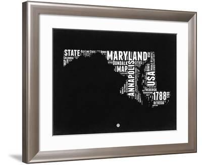 Maryland Black and White Map-NaxArt-Framed Art Print