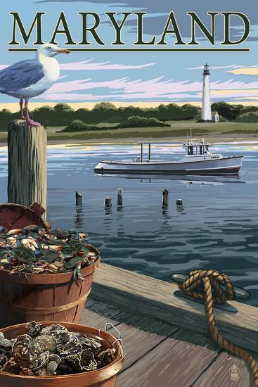 Maryland - Blue Crab and Oysters on Dock-Lantern Press-Art Print