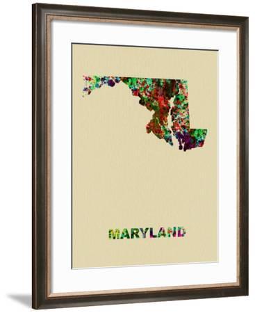 Maryland Color Splatter Map-NaxArt-Framed Art Print