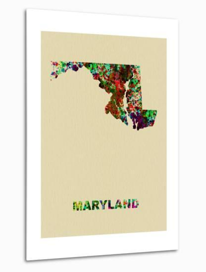 Maryland Color Splatter Map-NaxArt-Metal Print