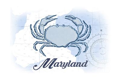 Maryland - Crab - Blue - Coastal Icon-Lantern Press-Art Print