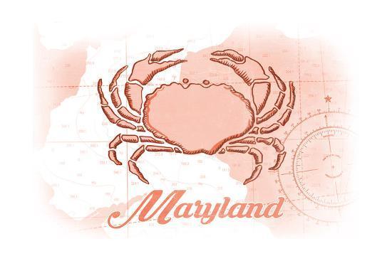 Maryland - Crab - Coral - Coastal Icon-Lantern Press-Art Print