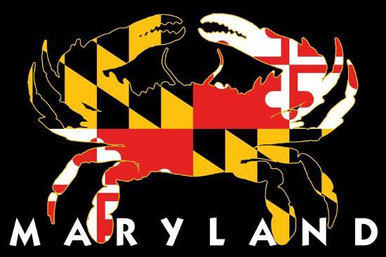 Maryland - Crab Flag (Black with White Text)-Lantern Press-Art Print