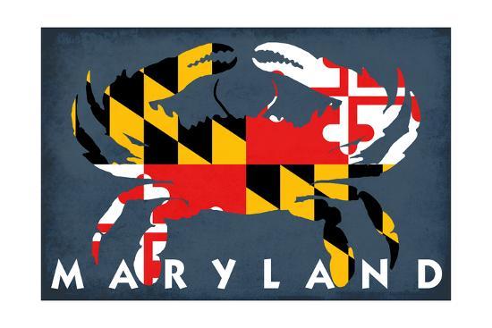 Maryland - Crab Flag-Lantern Press-Art Print
