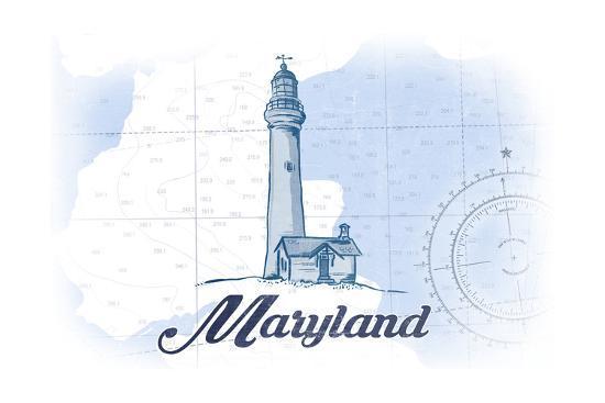 Maryland - Lighthouse - Blue - Coastal Icon-Lantern Press-Art Print