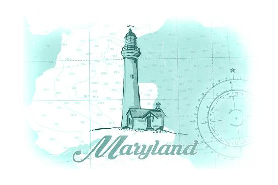 Maryland - Lighthouse - Teal - Coastal Icon-Lantern Press-Art Print