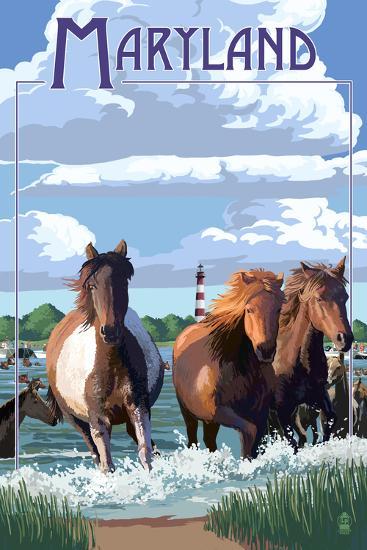 Maryland - Pony Swim-Lantern Press-Wall Mural