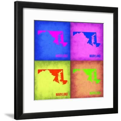 Maryland Pop Art Map 1-NaxArt-Framed Premium Giclee Print