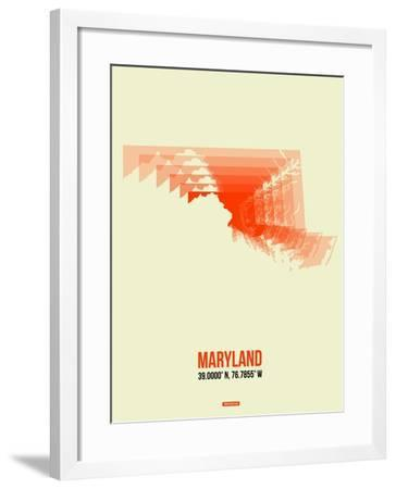 Maryland Radiant Map 3-NaxArt-Framed Art Print