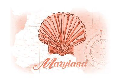 Maryland - Scallop Shell - Coral - Coastal Icon-Lantern Press-Art Print