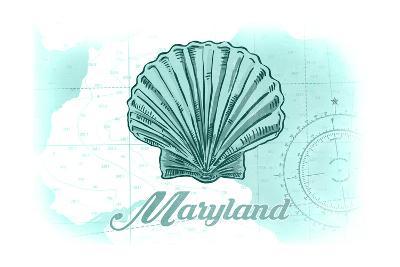 Maryland - Scallop Shell - Teal - Coastal Icon-Lantern Press-Art Print