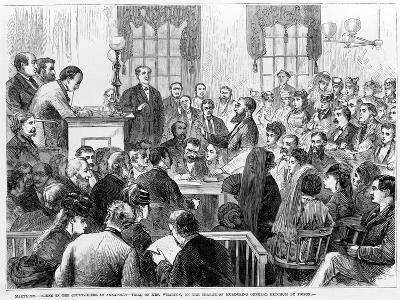 Maryland - Scene in the Court-House at Annapolis - Trial of Mrs Wharton on the Charge of Murdering-James E. Taylor-Giclee Print