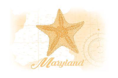 Maryland - Starfish - Yellow - Coastal Icon-Lantern Press-Art Print