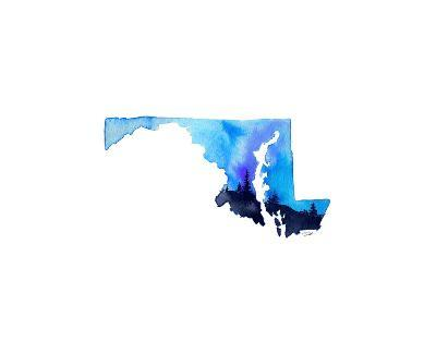 Maryland State Watercolor-Jessica Durrant-Art Print