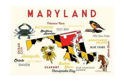 Maryland - Typography and Icons with Black Eyed Susans-Lantern Press-Art Print