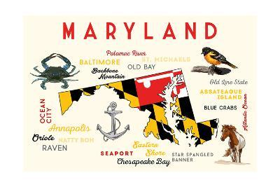 Maryland - Typography and Icons-Lantern Press-Art Print
