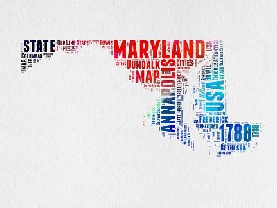 Maryland Watercolor Word Cloud-NaxArt-Art Print