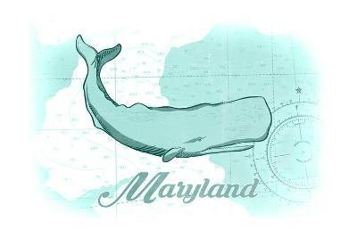 Maryland - Whale - Teal - Coastal Icon-Lantern Press-Art Print